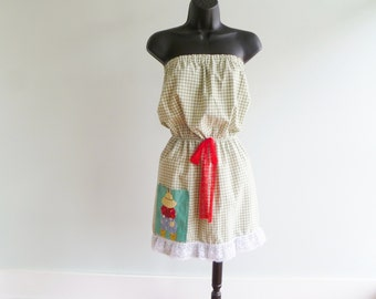 upcycled farmhouse chic strapless dress // womens size xs/s