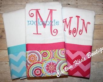 Chevron Baby Girl Burp Cloth Gift Set- Set of 3 Custom Monogrammed Burp Cloths