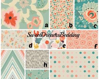 Custom Crib Bedding You Design   Bumper and Bedskirt in Coral Aqua floral