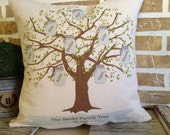 Mason Jar  Blue Family Tree Pillow Personalized Family Names - Insert Included
