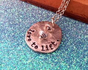 Sale--NEW- Love To Lift-Hand Stamped Pewter Necklace