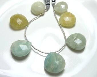 Faceted Aquamarine tear drops - 7 stones