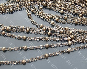 16 Feet Antique Bronzed Brass Chains- Flat Oval 2mm and Bead, 31g