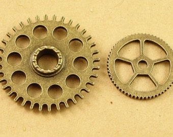 200g antqiue bronzed steampunk watch gears charms, 26mm and 18mm mixed wholesale- HA3542