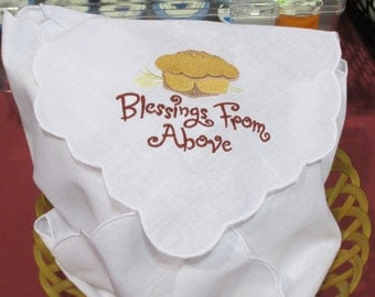 """Embroidered Linen Bread Basket Liner with """"Bread"""" and """"Blessings from Above"""""""