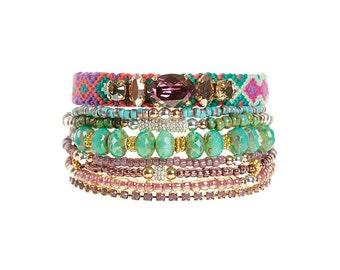Beaded multistrand bracelet in jewel tones - friendship bracelet jewelry - multiple strands bead bracelet - bohemian hippie style
