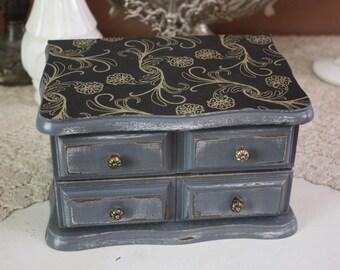 Small Black and Gray Shabby Chic Jewelry Box