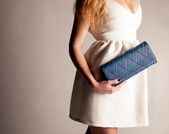 Metallic Clutch bag, modern minimalist Magenta and Blue leather bag