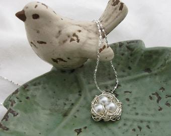 Silver Birds Nest Necklace