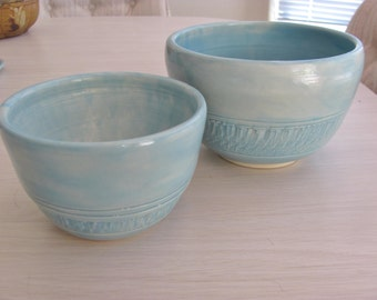 Bowl Set Nesting Bowls Handmade Stoneware Chattered Pottery Serving Bowl Set Aqua Blue  Dinnerware
