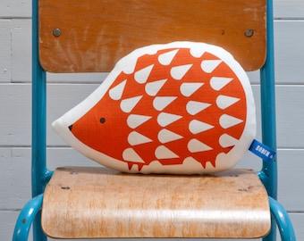 Hand Screen Printed Hedgehog Pillow in Burnt Orange