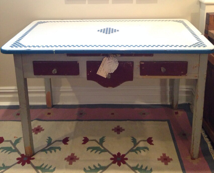Antique enamel top table kitchen island bread box cutting