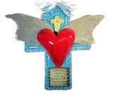 Ceramic and Real Dove Feather Heart in Flight Criss