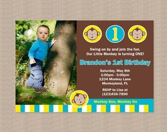 Mod Monkey Birthday Party Invitation, Blue Yellow White, Mod Monkey Birthday Invitation, Mod Monkey Birthday Party, Printable Invitation