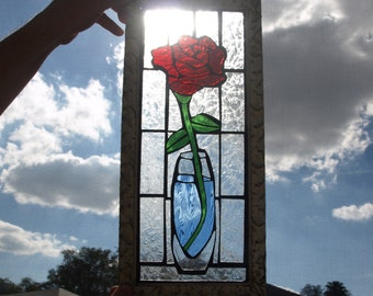 Stained Glass Mosaic Ruby Red Rose Vase Window Repurpose Frame