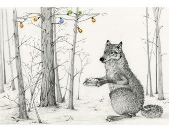 Wolf in the woods with a Birthday Cake Giclee print 8x11 art print