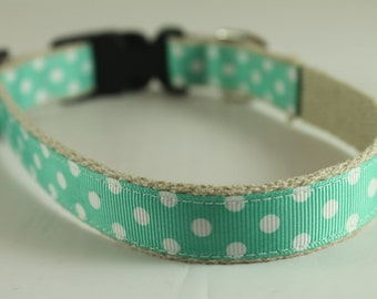 Hemp Dog Collar - White Dots on Turquoise - 3/4in