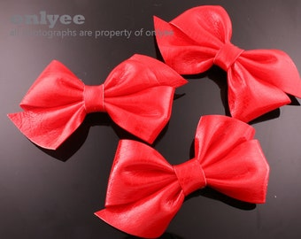4PCS-95mm Faux Snake Leather Ribbon Bow  -Red(B220)