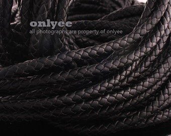 1/2yd(Approx.2Bracelets) -5.5mm Braid Leather Cord,Braid Leather straps For jewelry findings,Europe Bracelets-Black(N128A)
