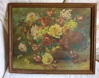 H. Whitroy Signed Antique Roses Lithograph Framed Painting Rose Artwork Vintage Art Floral Bouquet