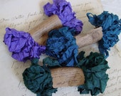 Shabby Wrinkled MALLARD ribbon bundle, 15 yards