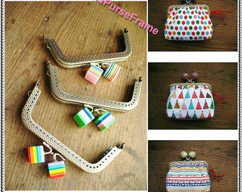 3piece- 4inch (10.5cm) Rainbow bead Ladder shape purse frame / bag frame / metal frame with sewing hole (antique brass in 3color bead)