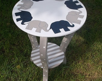 Jan 29 2018 Ships Custom Navy Grey Elephants, Nursery Decor, Side Tables,  Kids