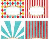 Printable DIY Vintage circus carnival 4th of July Tent Food Labels- 4 designs blank