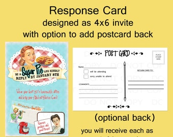 Printable DIY Retro Housewife Theme Bridal Shower Party RSVP Response Card - Postcard backing