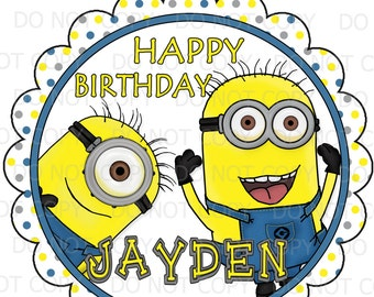 """Printable DIY Personalized Minion Inspired theme Birthday Party Centerpiece or Cake Toppers - 8"""" and 6"""" sizes"""