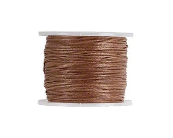 Waxed Cotton Cord Cord Light Brown 0.5mm. Spool of 25 meters / 27.3 Yards.