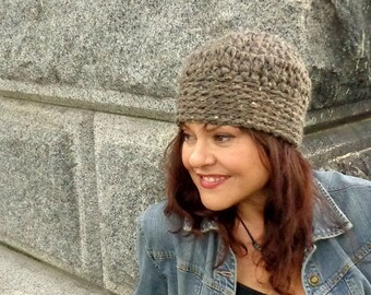 Hat, Crochet, Chunky, Skullcap, Unisex, Snug, Warm, Winter, Fall, Barley, Tan