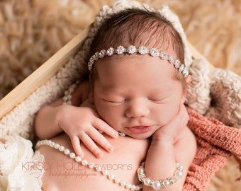 Newborn Rhinestone headband, halo headband, bling headband, newborn photography prop