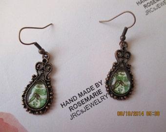 Green Paisley design earrings