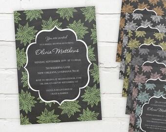 Printable Digital File - Pretty Floral Chalkboard Invitation - Customizable - Birthday, Shower, Party, Bridal, Wedding, Engagement, Baby