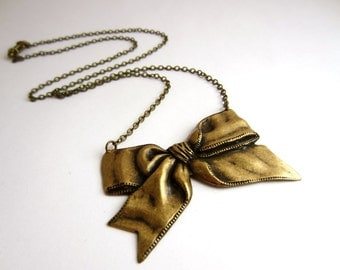 Brass Bow Necklace Christmas Necklace Ribbon Necklace Vintage Style Jewelry Retro Winter Fashion Christmas Jewelry