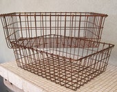 Industrial Wire Storage Baskets Set of Two Rustic and Rusted by OlliesFineThings