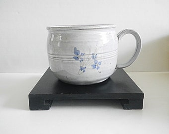 Vintage NC Pottery Cup Mug Blue Dogwood Design Owens Seagrove NC