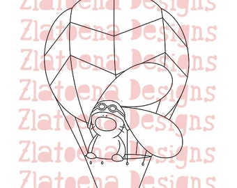 Digital stamp Bunny hot air balloon, Printable Line art for Card and Craft Supply, Vector graphics, Digital image, Clipart commercial use