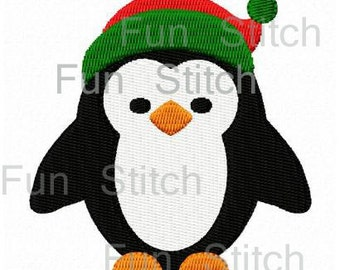 Christmas Penguin machine embroidery design two sizes