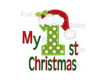 My 1st Christmas santa hat applique machine embroidery design