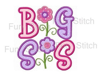 big sister sis applique machine embroidery design