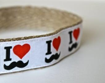Mustache Dog Collar / Heart Dog Collar / Adjustable Dog Collar / Ribbon Dog Collar / Large Dog Collar