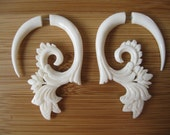 FAUX GUAGED Earrings!  GORGEOUS floral and swirly pattern! Hand carved from bone, for regular piercings! Free ship