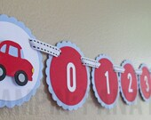Little Red Race Car Collection: Monthly Car first birthday photo banner. Cars Birthday. Picture Banner. First Year Banner. Racing. Race.