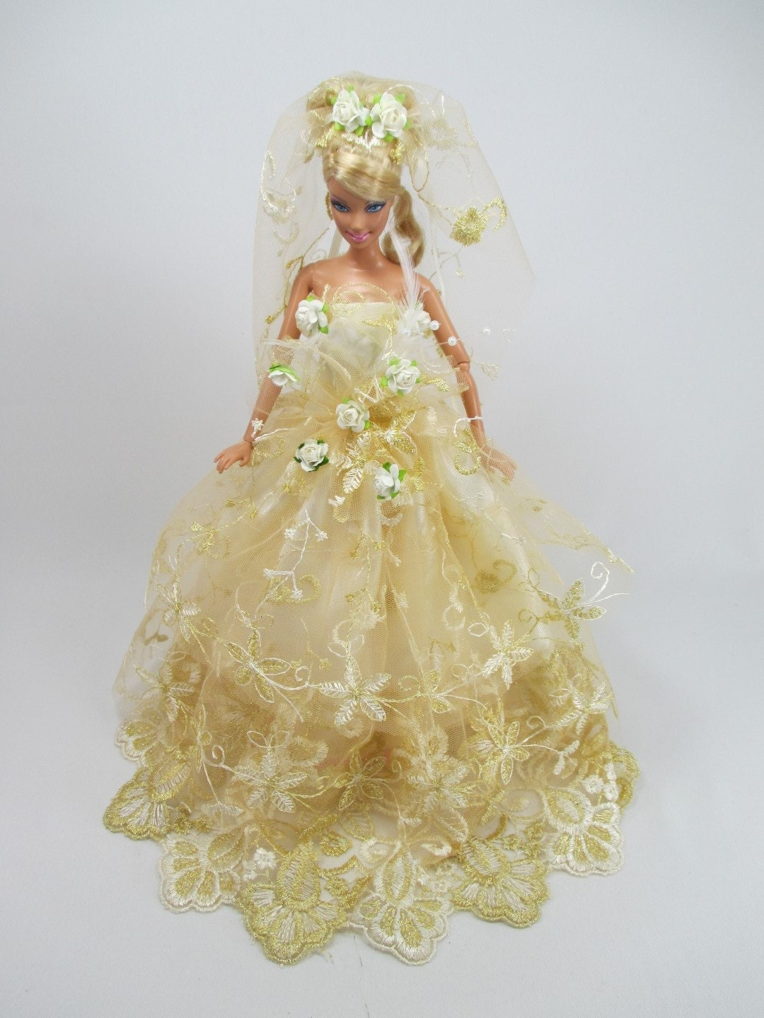 Barbie Doll Wedding Gown Dress With Veil Royalty Tanya 13
