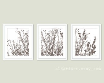 Modern Autumn Branches Art Prints - Tree Wall Art - Set of 3 - Taupe Brown - Autumn Tree Branches and Leaves Triptych - Woodland Home Decor