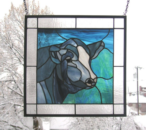 Black cow portrait 15 x 15 stained glass window for 15 window
