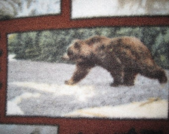 Fleece Blanket with Bears in Frames with Black - Ready to Ship Now