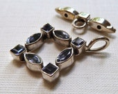 Iolite Gemstone Sterling Silver Toggle Clasp -  21x27mm - Diamond Shape -  Strong Sturdy Gorgeous Focal Closure